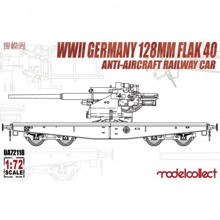 Modelcollect 1/72 WWII Germany 128mm Flak 40 Anti-Aircraft Railway Car