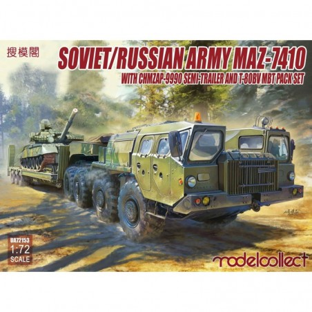 Modelcollect 1/72 Soviet/Russian Army MAZ-7410 with ChMZAP-9990 semi-trailer and T-80BV mbt pack set